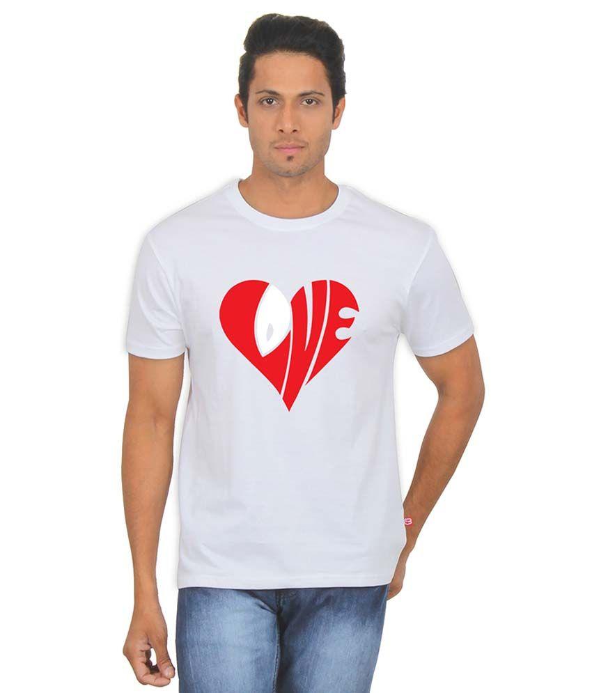 FanIdeaz Love Tees Valetine Gift White Silky Polyester T Shirt for Men