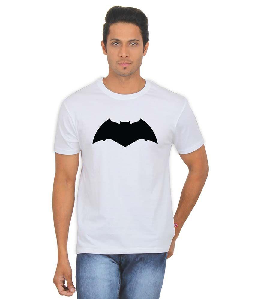 FanIdeaz Dark Knight Bat 90's White Silky Polyester T Shirt for Men