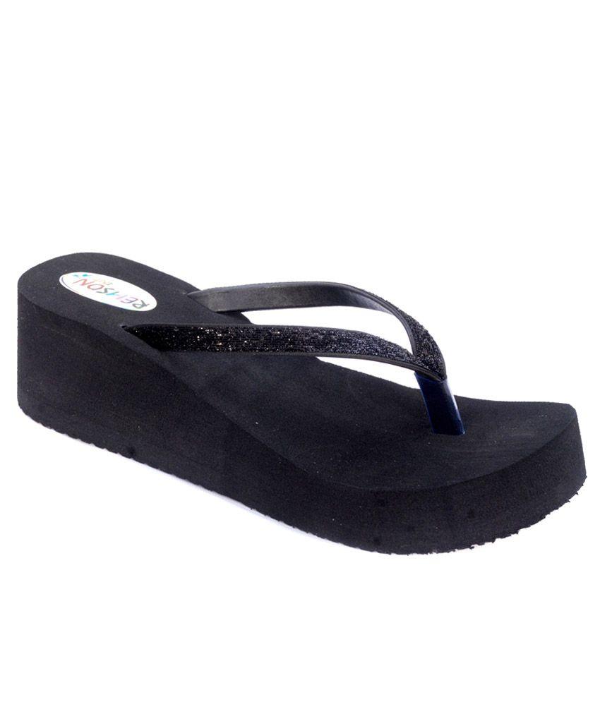 Remson India Black Slippers & Flip Flops