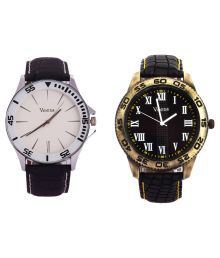Veens cx42 Black Round Analog Watch - Pack of 2