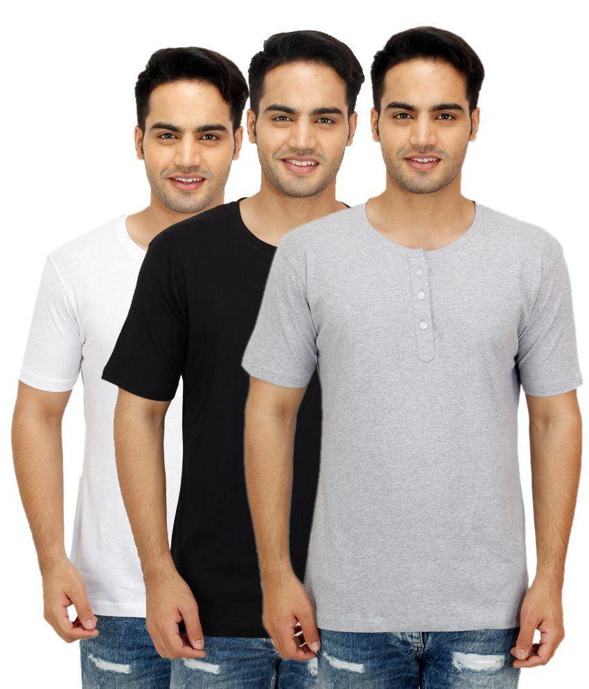 Candy House Multi Henley T Shirts Pack of 3