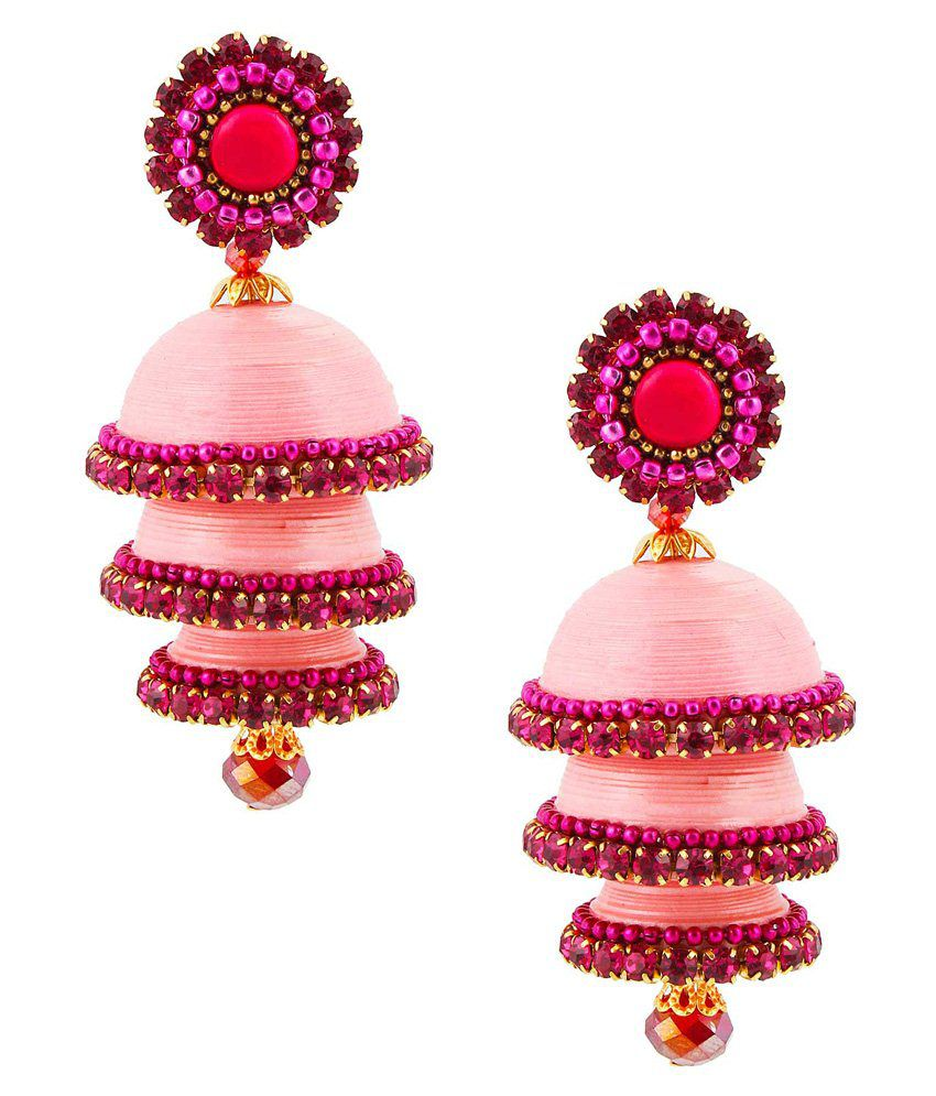 Halowishes Pink Jhumki Earrings