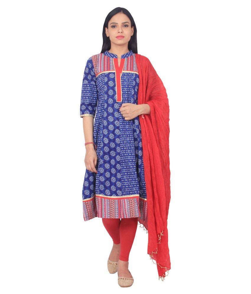 Rama Blue Cotton Anarkali Stitched Salwar Suit