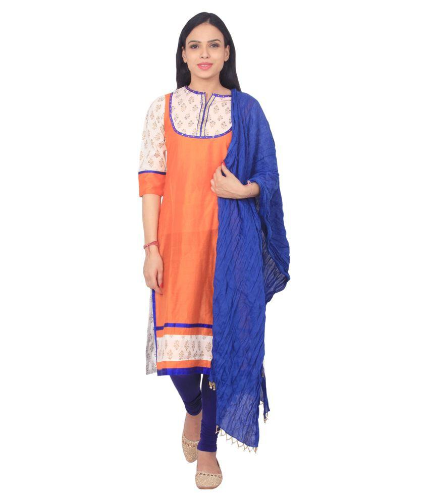 Rama Orange Cotton Straight Fit Stitched Salwar Suit