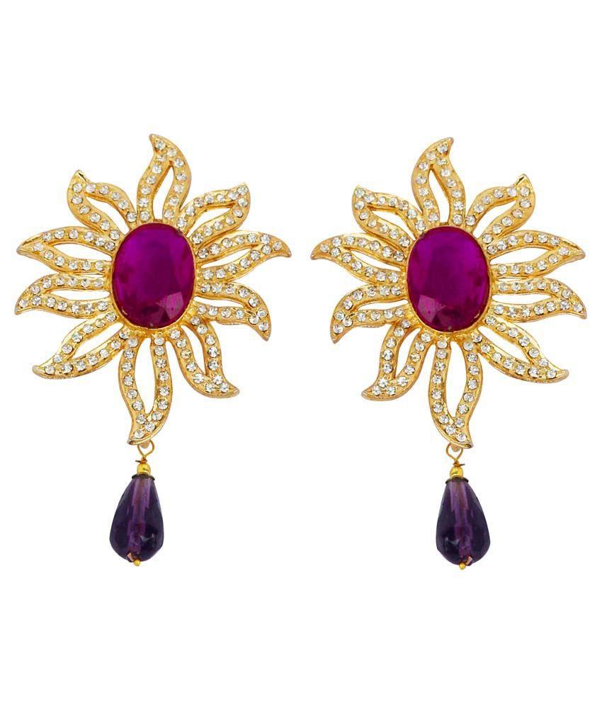 Touchstone Golden & Purple Earrings