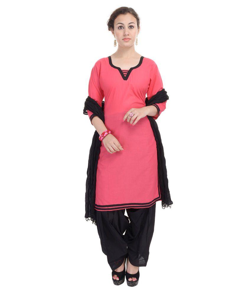 Aavaya Fashion Pink Cotton Straight Fit Stitched Salwar Suit
