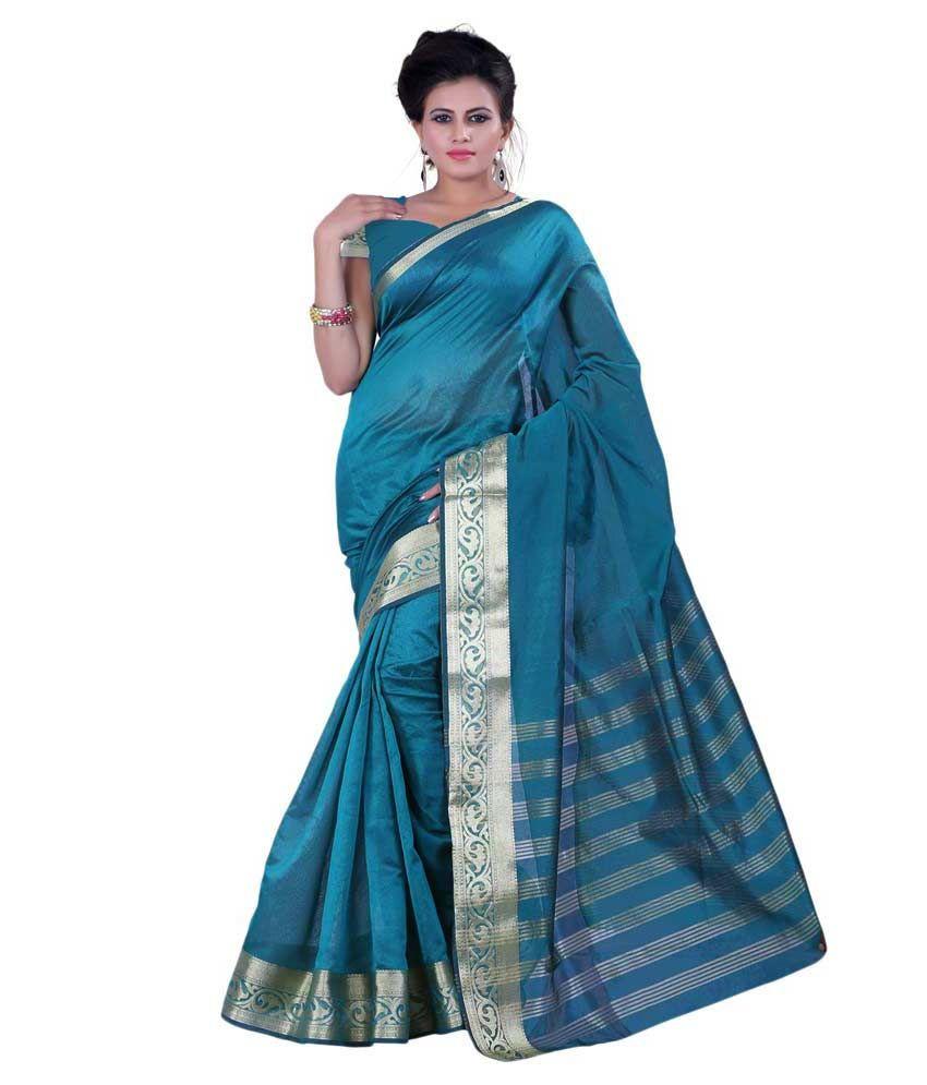 Bunny Sarees Turquoise Silk Saree