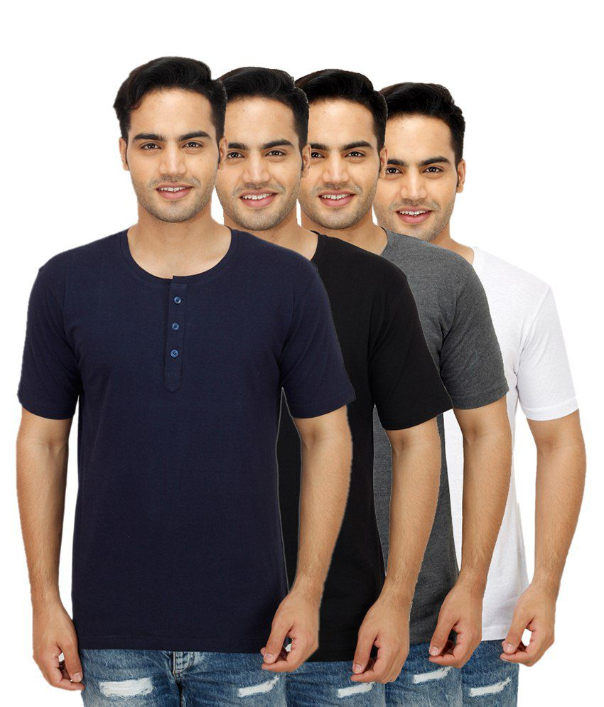 Rakshita's Collection Multi Henley T Shirts Pack of 4