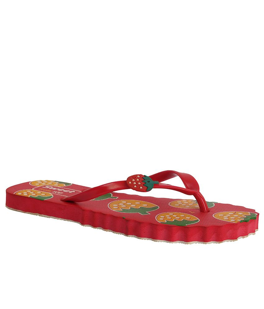 Ve Sweet Red Slippers & Flip Flops