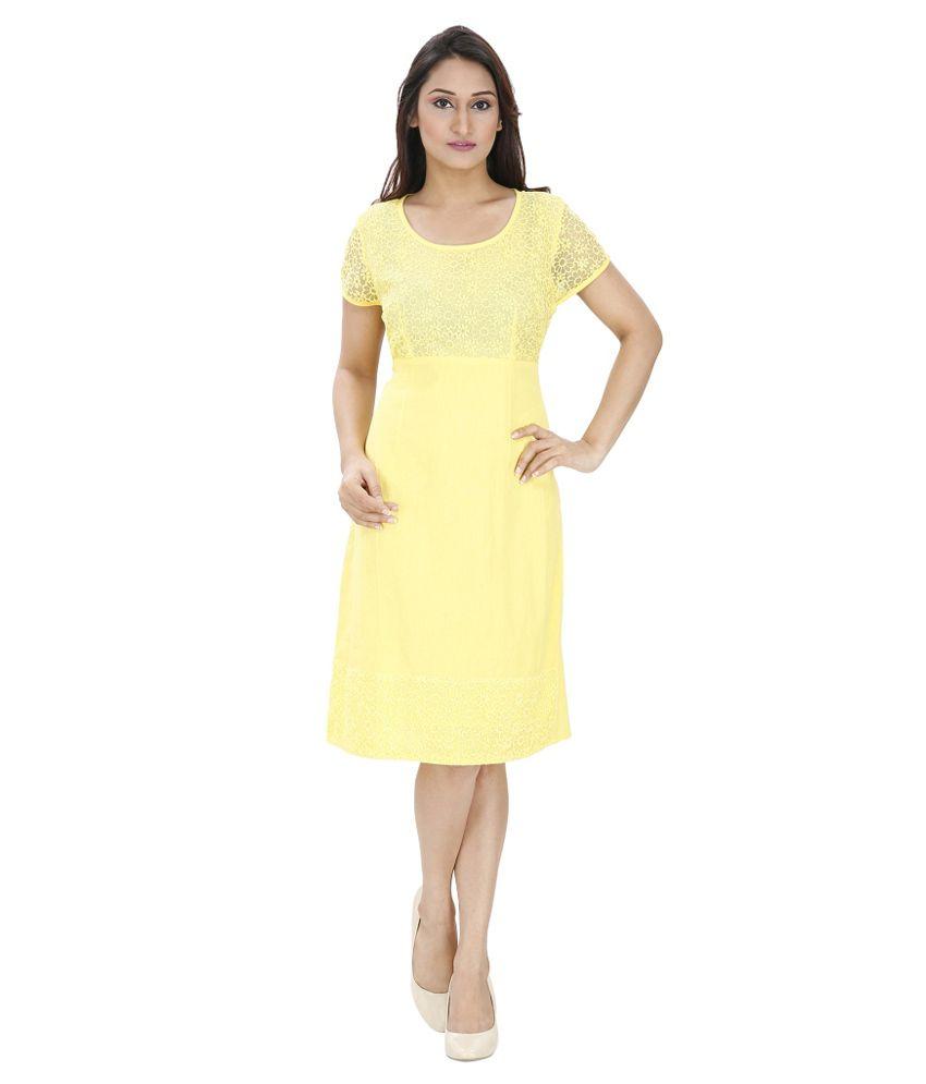 Svt Ada Collections Yellow Linen Dresses