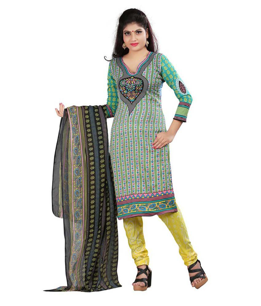 Bansy Fashion Multicoloured Crepe Straight Unstitched Dress Material