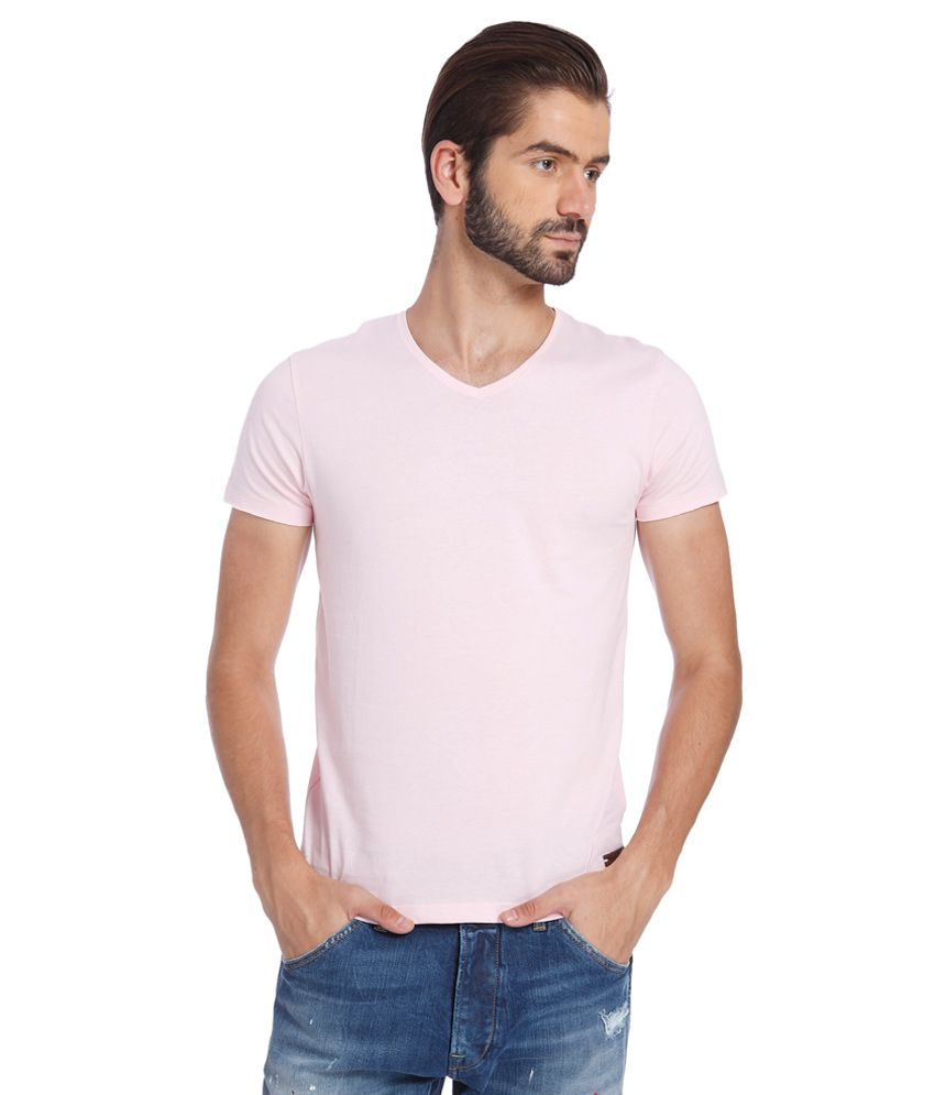 Jack & Jones Pink V-Neck T Shirt