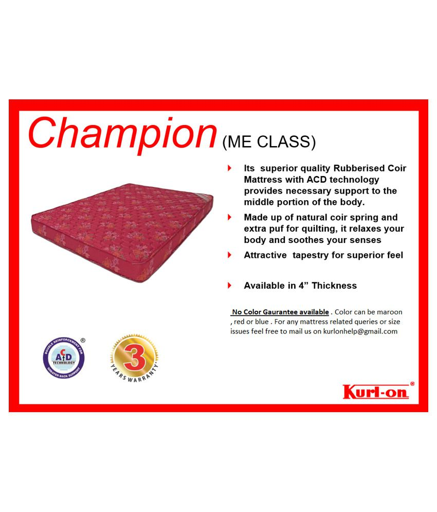 kurl on champion 4 inch coir foam mattress buy kurl on champion 4