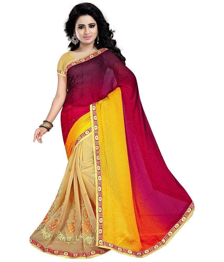 Party Wear Dresses Multi Color Georgette Saree