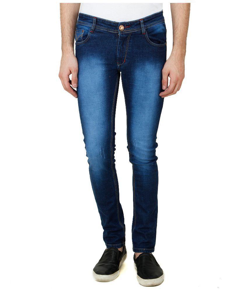 Pazel Blue Slim Fit Washed Jeans