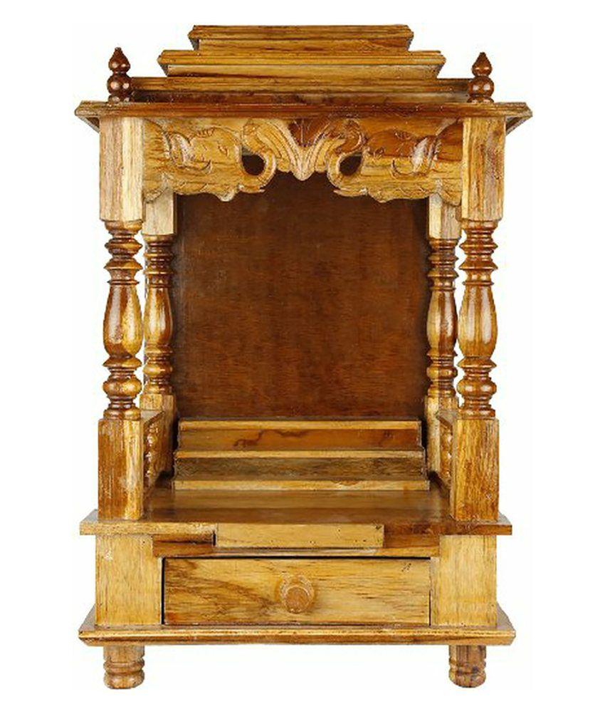 20 Mandir Designs For Indian Homes: Dushyant Brown Wooden Mandir: Buy Dushyant Brown Wooden