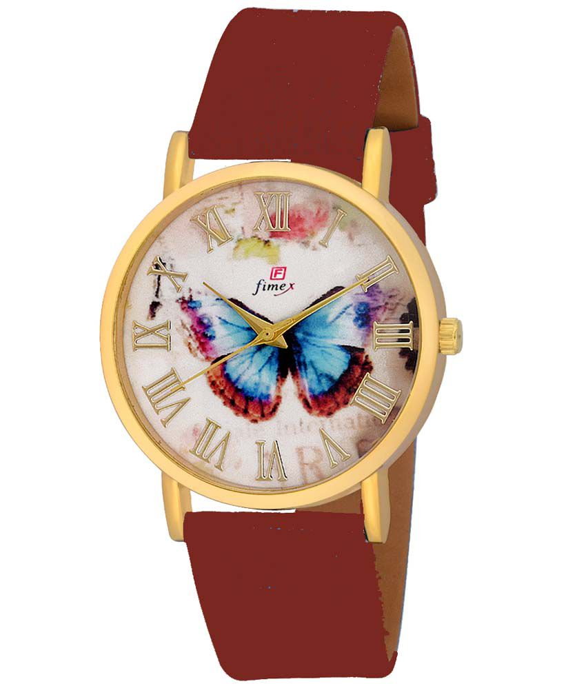 Fimex Maroon Analog Watch For Women