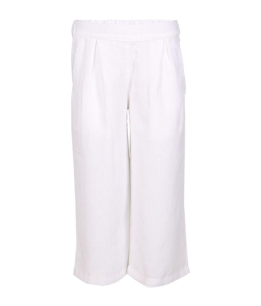 Miss Alibi White Polyester Capris For Girls