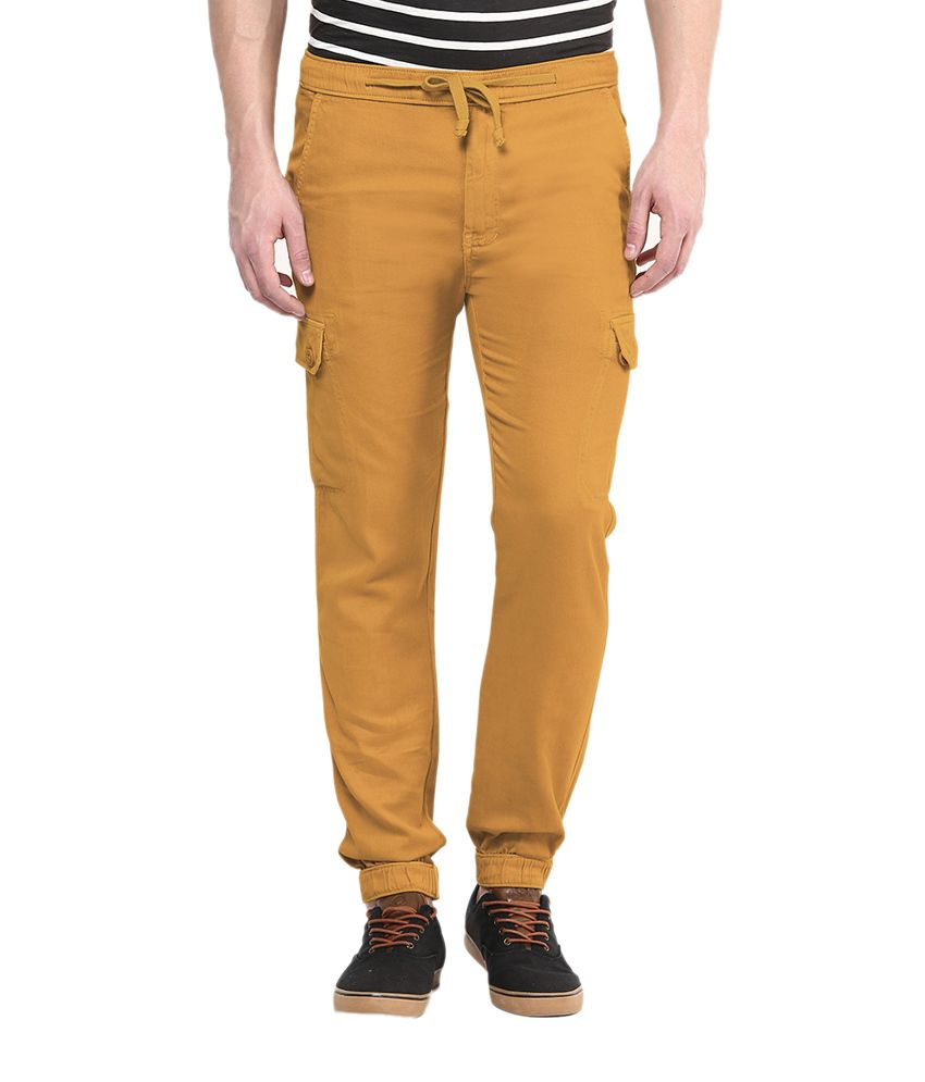 Wear Your Mind Yellow Regular Fit Cargos