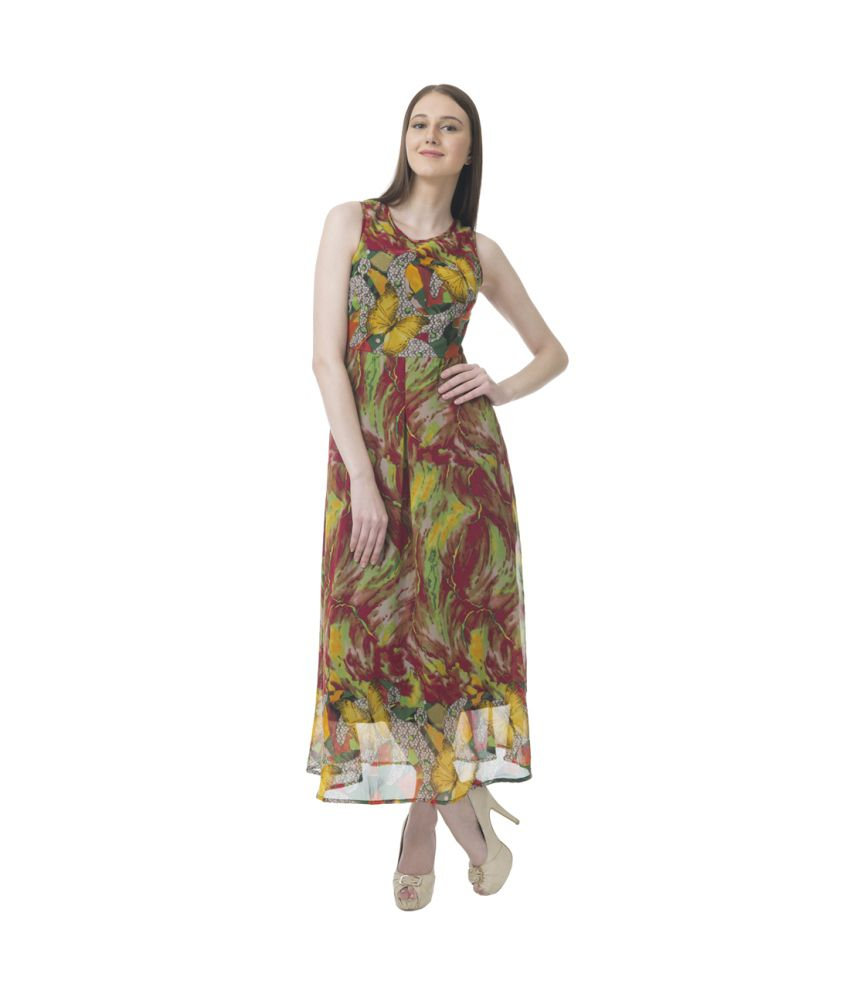 660c7834b70 Ayaany Multi Color Cotton Maxi Dress - Buy Ayaany Multi Color Cotton Maxi  Dress Online at Best Prices in India on Snapdeal