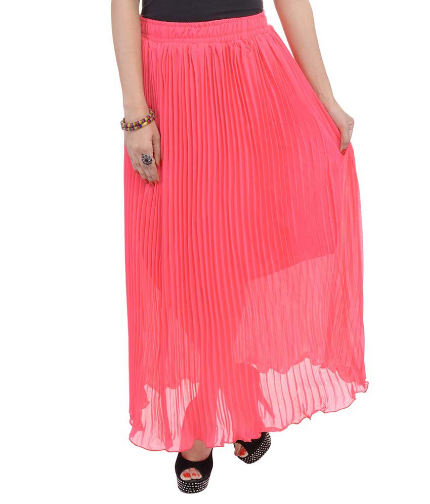 7a31826e82 Buy Rajasthani Sarees PeachPuff Chiffon Pleated Skirt Online at Best Prices  in India - Snapdeal