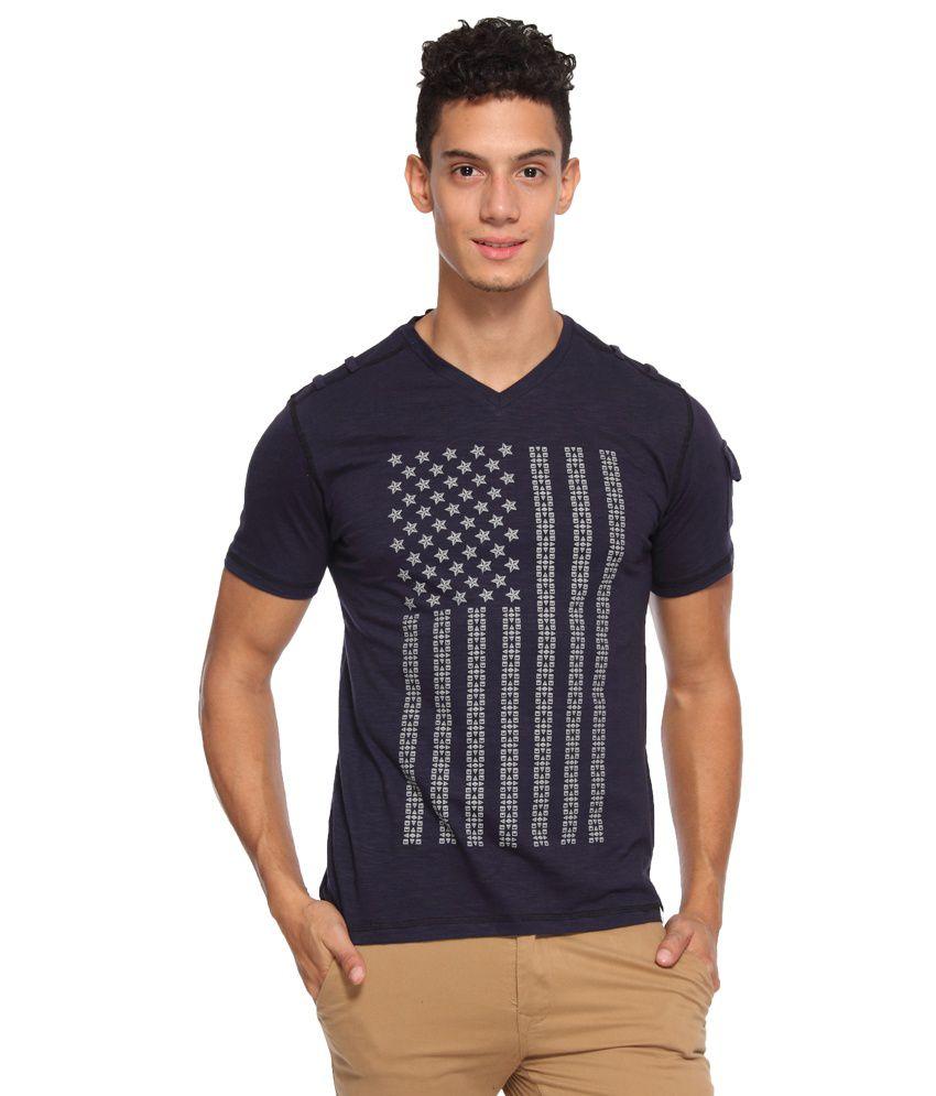 ARISE by beroe Navy V-Neck T Shirt