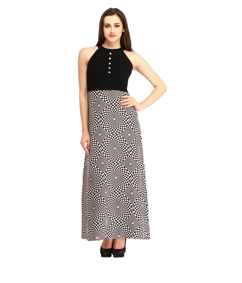 Cottinfab Black Polyester Maxi Dress