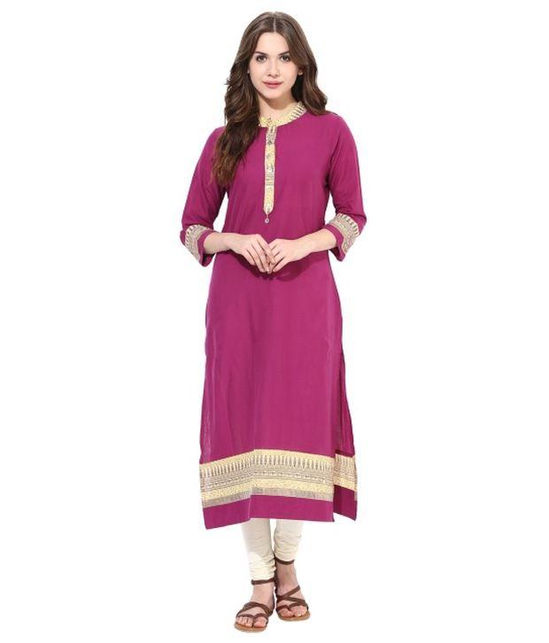 Prakhya Purple Cotton Straight Kurti