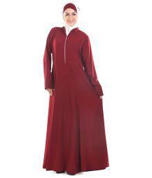 Momin Libas Maroon Ploycrepe Stitched Abaya-burqas Without Hijab