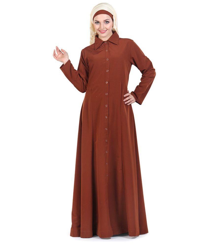 Momin Libas Brown Kashibo Stitched Abaya-Burqas without Hijab