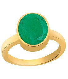 Clara Emerald Panna 4.8 carat (5.25 ratti) Panchdhatu Gold Plating Astrological Ring For Men & Women