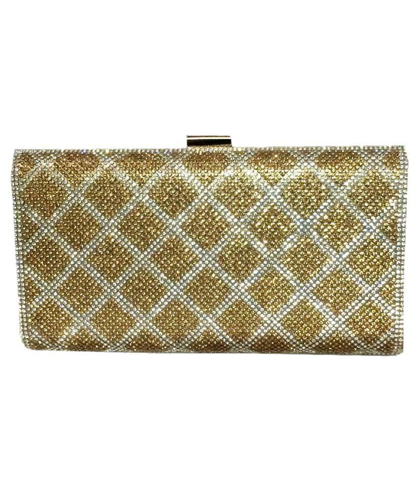Fashion Rain Gold Suede Box Clutch