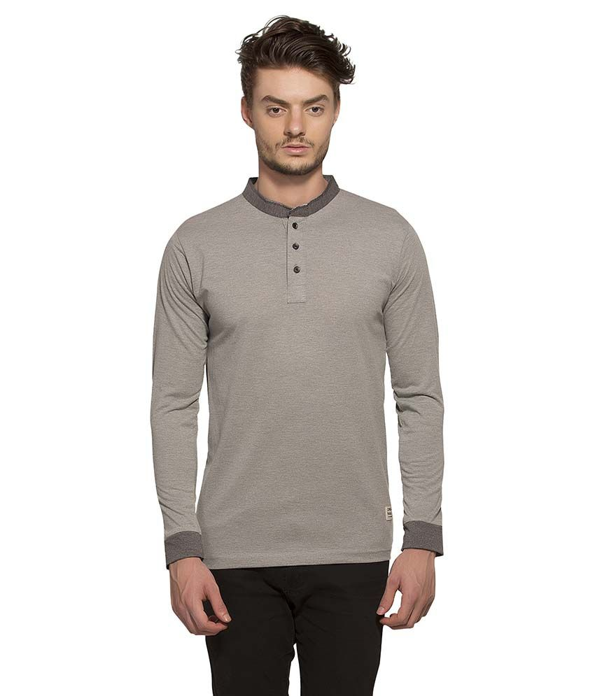 Alan Jones Clothing Grey Henley T Shirt