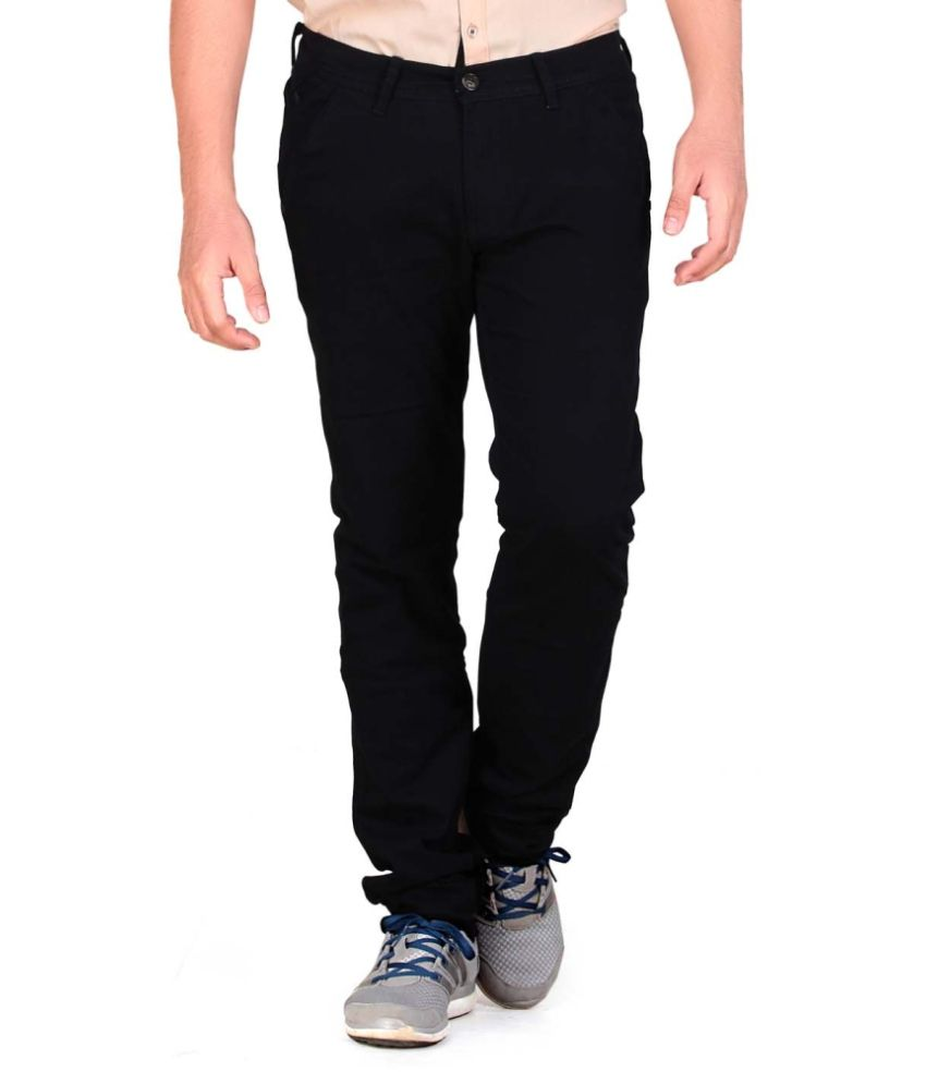 Private Image Black Slim Fit Chinos Casuals