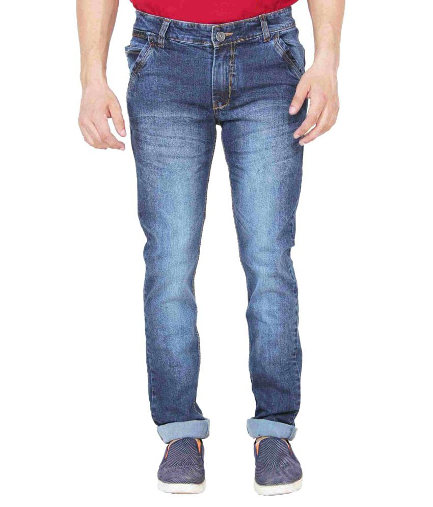 Adhaans Blue Slim Fit Faded Jeans
