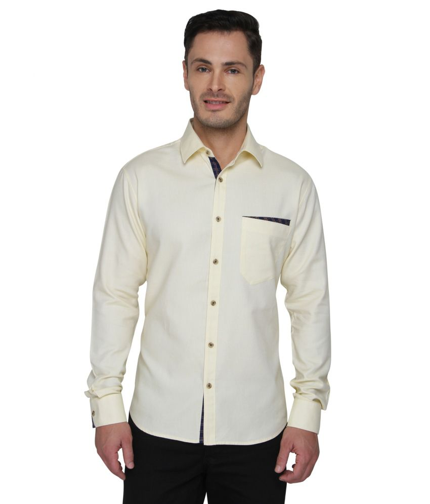 Bluvior Yellow Casuals Slim Fit Shirt
