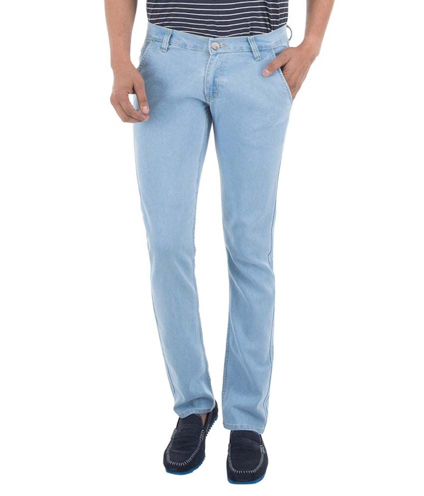 Club Vintage Blue Slim Fit Solid Jeans
