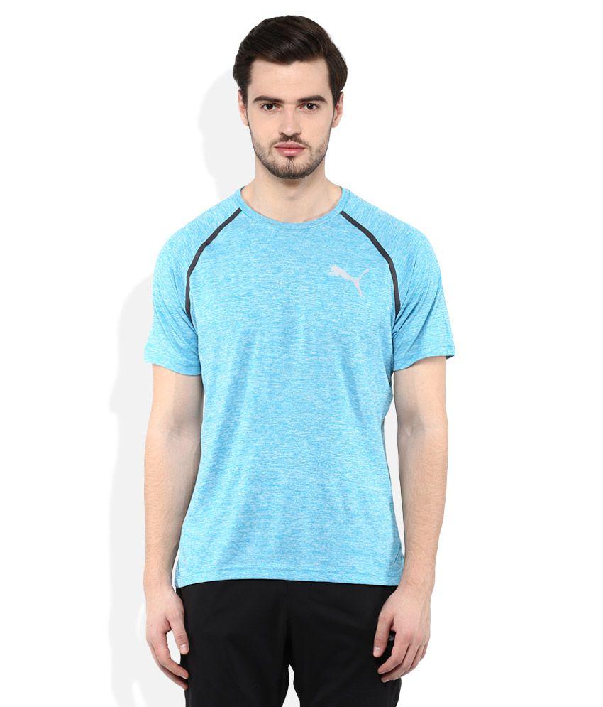 Puma Blue Round neck T Shirt