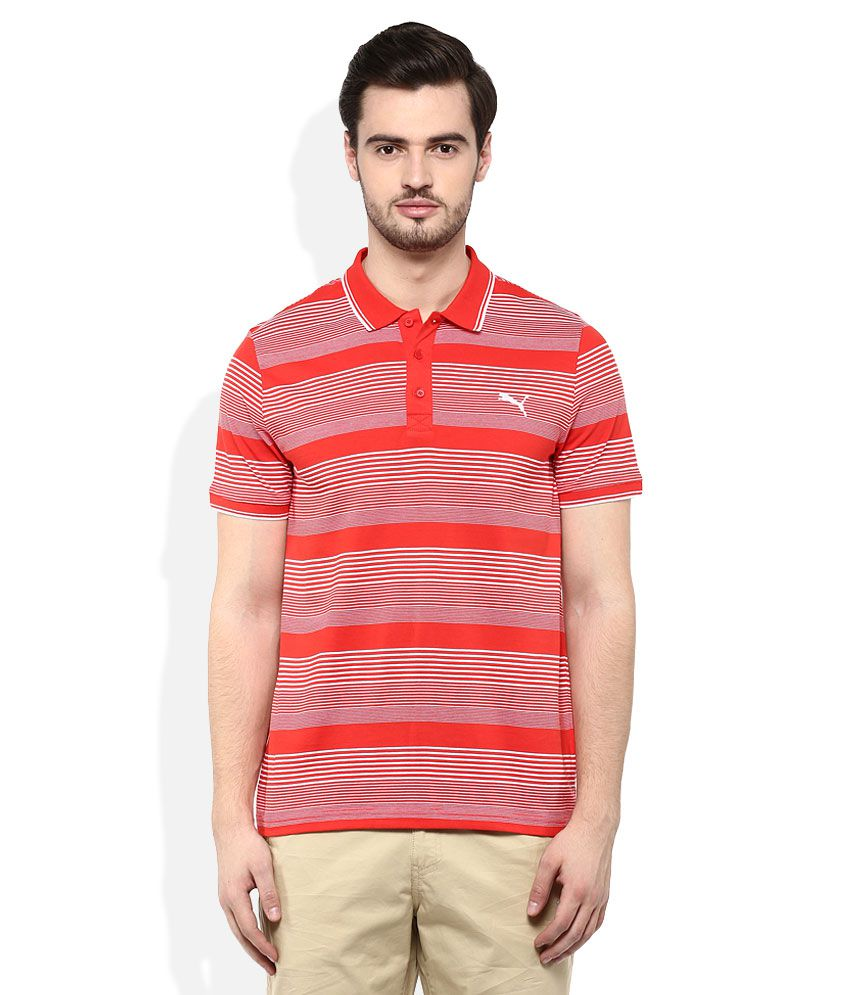 Puma Red Polo Neck T Shirt