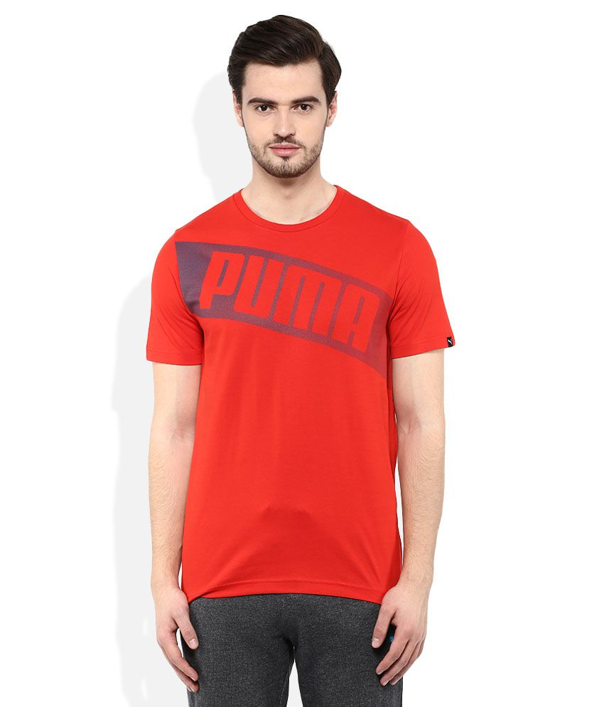 Puma Red Round neck T Shirt