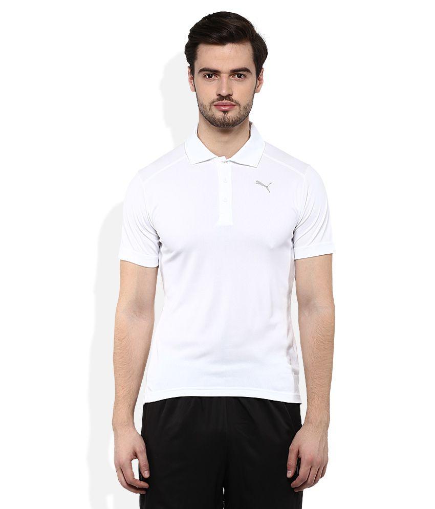 Puma White Polo Neck T Shirt