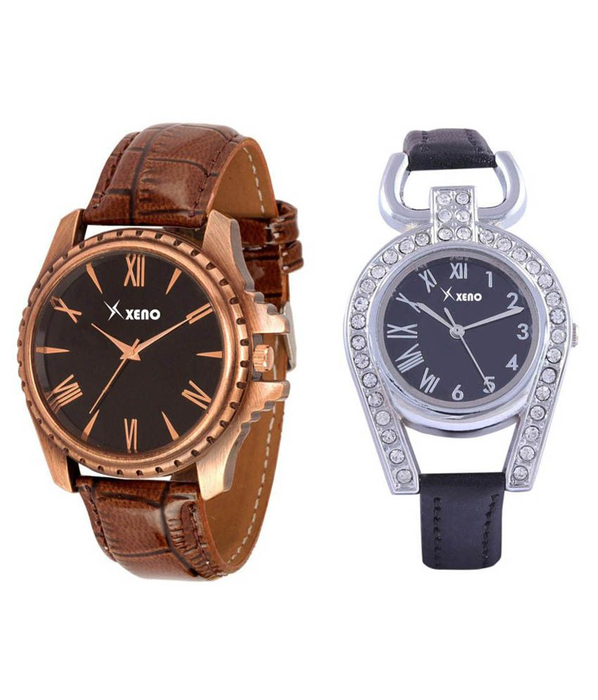 xeno Brown and Black Leather Analog Black Couple Watch