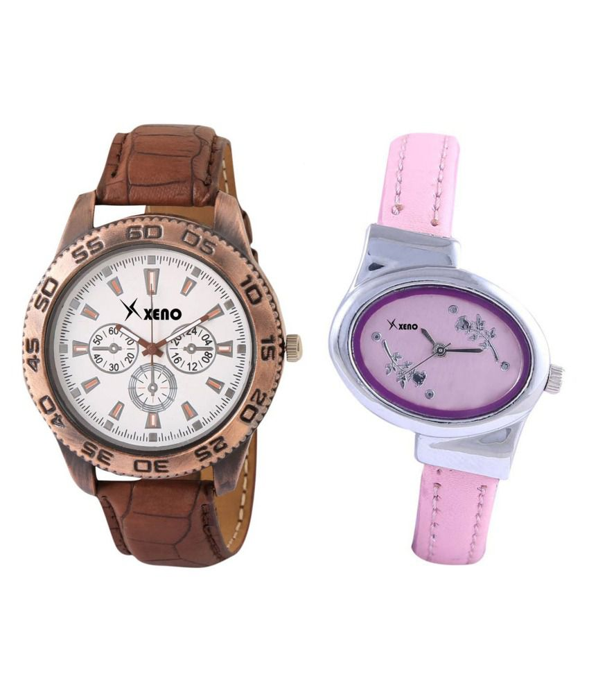 xeno Brown and Pink Leather Analog Couple Watch