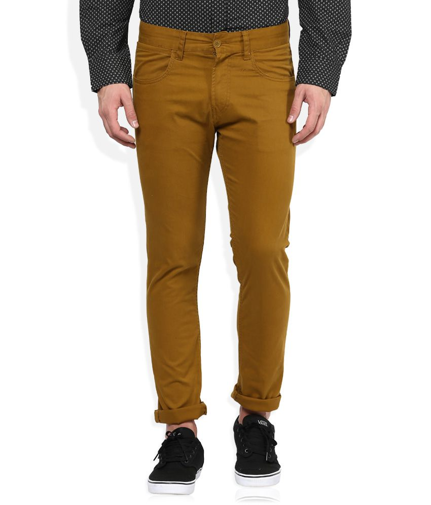 FCUK Brown Regular Fit Trousers