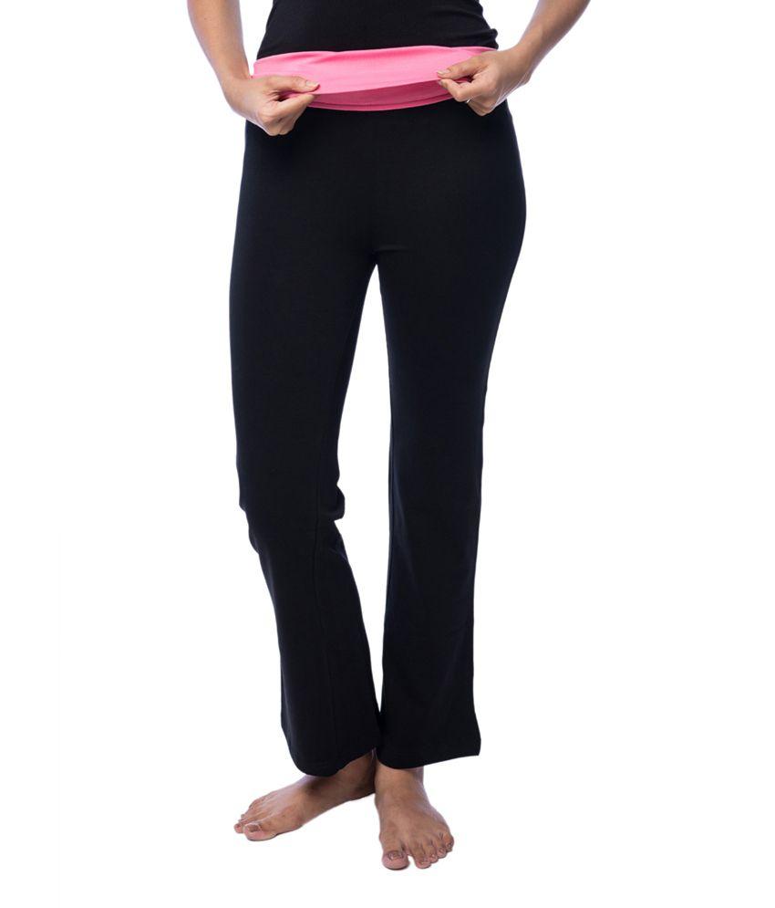 Nite Flite Black Foldover Yoga Pants with Pink Waistband