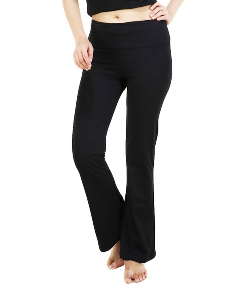 Nite Flite Black Foldover Yoga Pants