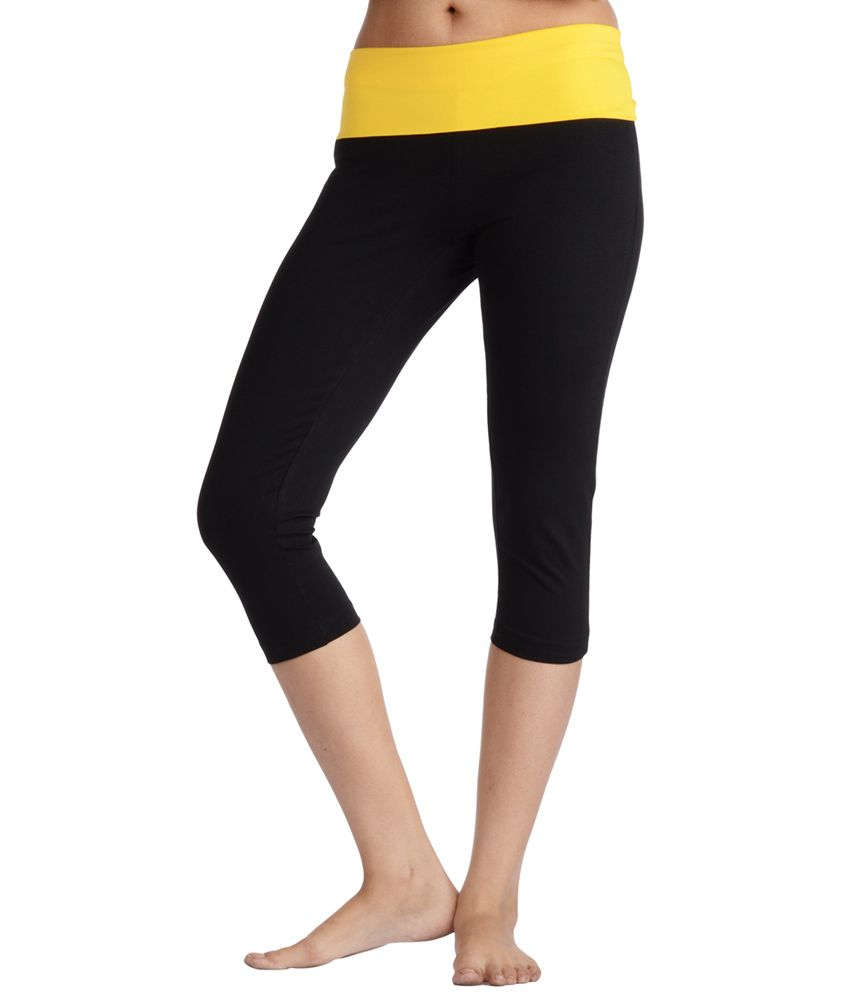 Nite Flite Yoga Capri with Yellow Foldover Waistband