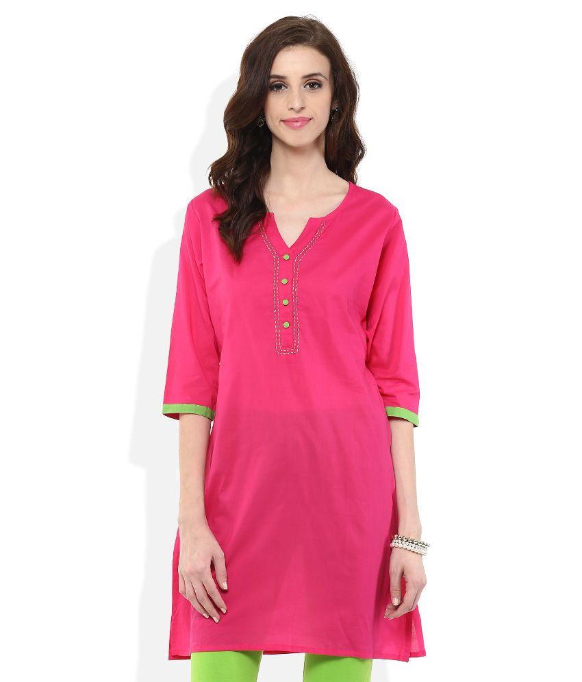 2e4915a68a2 Shree Fuchsia Pink Plain Kurta - Buy Shree Fuchsia Pink Plain Kurta Online  at Best Prices in India on Snapdeal