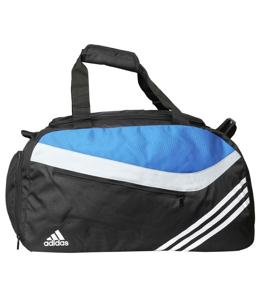 Adidas Black and Blue Polyester Duffle Bag