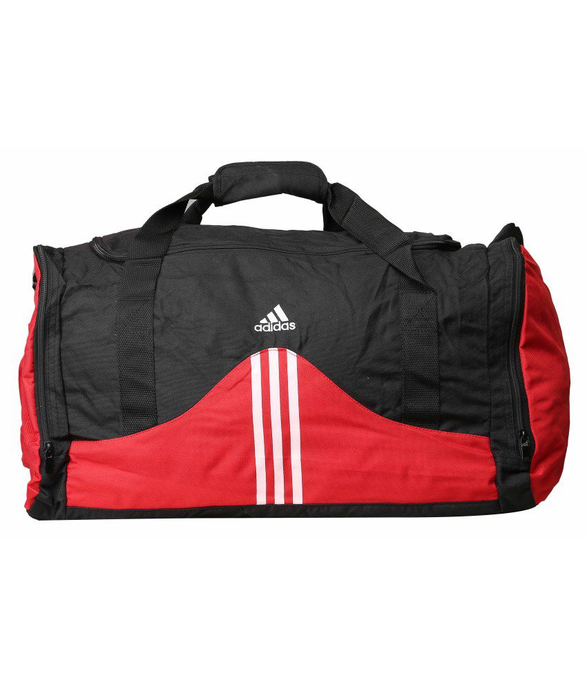 Adidas Red and Black Polyester Duffle Bag